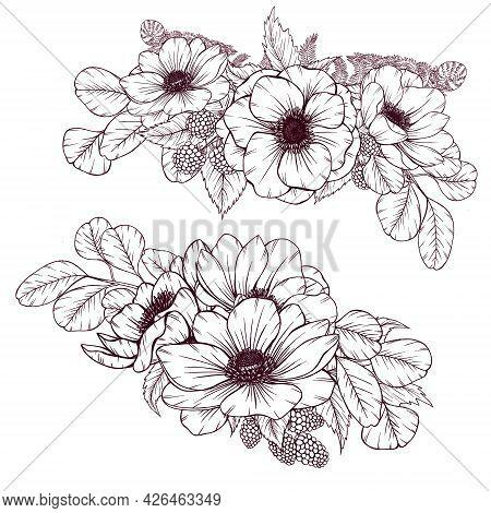 Elegant Wild Flowers Bouquet, Rustic Wedding Floral Arrangement, Vintage Style Flowers, Fern, Wild B