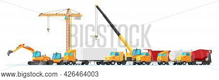 Building And Transportation Machines Icon Set. Construction Equipment Collection Isolated On White.