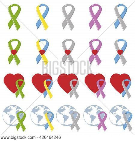 Symbolic Ribbons Of Different Colors Reminder Of Serious Diseases, Color Vector Illustration In The