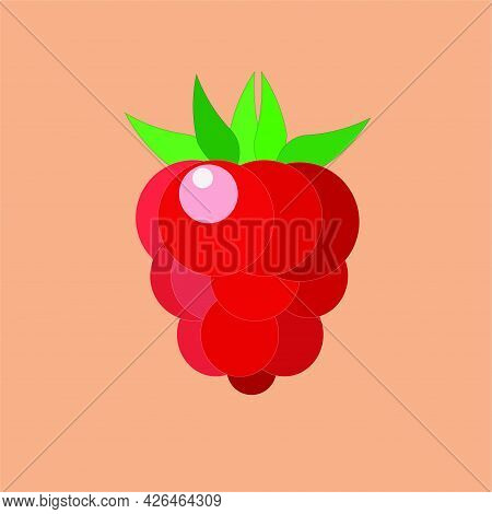 One Raspberry Berry Is Red With Green Leaves On An Orange Background. Flat Style, Vector.