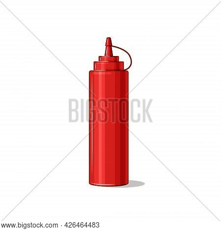 Tomato Ketchup. Hot Sauce Packed In Plastic Bottle. Fast Food. Vector Illustration