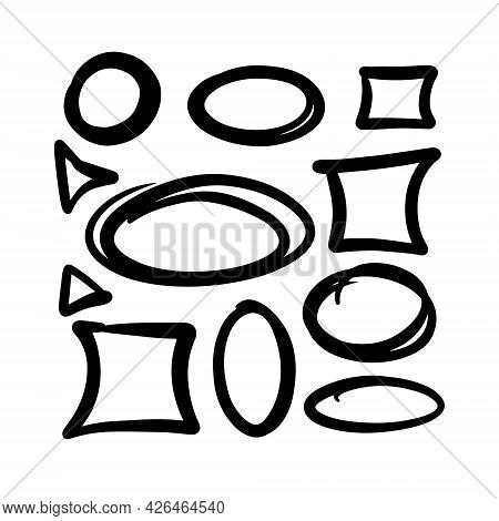 Hand-drawn Figures Set. Circles, Squares, Ovals, Triangles, Abstract. Black And White Color. Vector