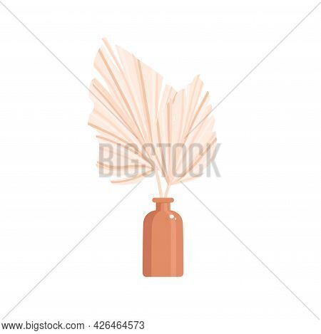 A Dry Palm Leaf In A Vase. Home Decor In Boho Style. Bohemian. Vector Illustration.