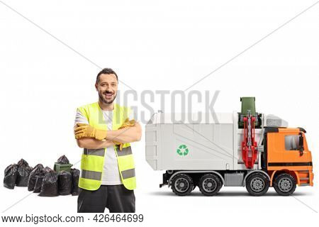 Waste collector in a uniform with a garbage truck isolated on white background