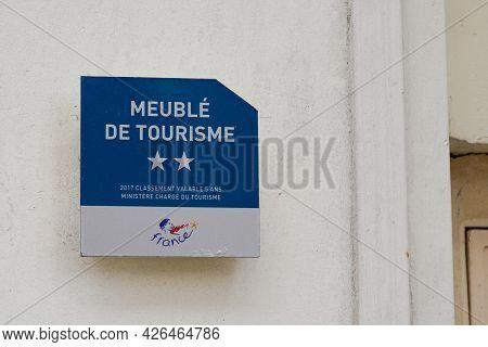 Albi , Ocitanie France  - 06 30 2021 : Meuble De Tourisme Two Stars 2 French Quality Tourism Text Lo