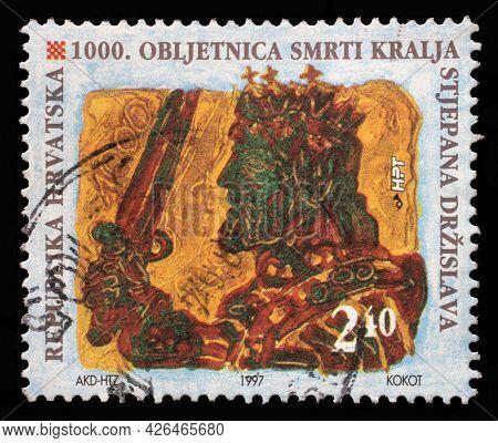 ZAGREB, CROATIA - AUGUST 29, 2014: A stamp printed in Croatia shows King Stjepan Drzislav, Series Croatian Kings, circa 1997