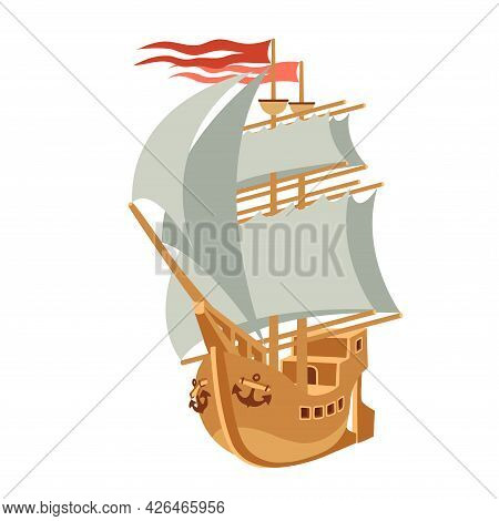 Ancient Wooden Sailboat With Masts, Red Flags, Anchors And Sails, Symbol Of Travel, Youth Dreams & R