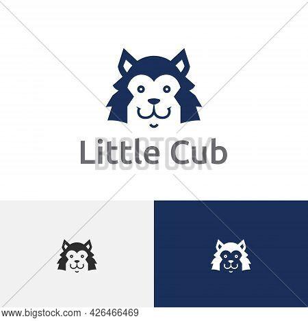 Smiling Little Cute Wolf Cub Head Logo