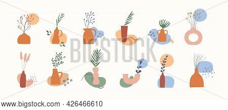 Set Of Clay Vases With Potted Dry Plants, Leaves, Branches And Abstract Geometric Shape. Trendy Boho