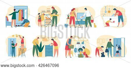 People Cleaning House. Parents With Kids Doing Housework Chores. Men And Women Ironing Clothes, Mopp