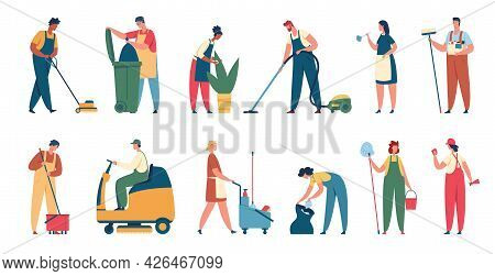 Cleaning Service Workers. Professional Cleaner Clean Office Or House With Equipment. Housekeeping Se