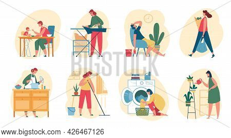 Housewife Doing Housework. Women Cooking Meal, Washing Clothes, Watering Plants, Shopping, Cleaning