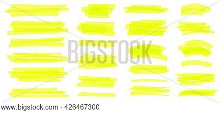 Highlighter Line. Yellow Marker Strokes, Lines, Frames. Hand Drawn Highlighters Pens Scribble, Text