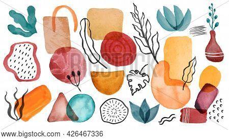Watercolor Shapes. Hand Painted Watercolor Circles, Blobs, Leaves. Scandinavian Abstract Organic And