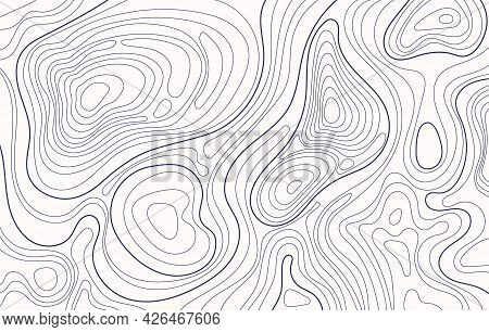 Topographic Map. Topography Contour, Geography Contouring Lines. Topographical Relief, Landscape Ele