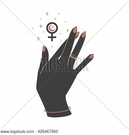 Alchemy Esoteric Mystical Magic Celestial Talisman With Woman Hand With Crossed Fingers And Female S