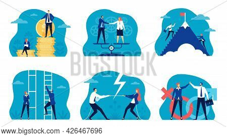 Business Gender Equality. Man And Woman Climbing Career Ladder. Workplace Gender Discrimination And