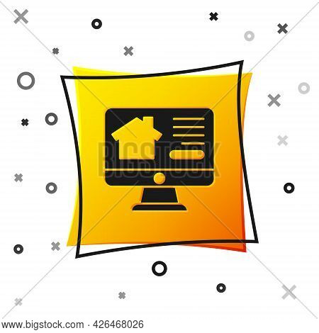 Black Online Real Estate House On Monitor Icon Isolated On White Background. Home Loan Concept, Rent