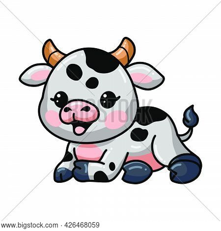 Vector Illustration Of Cute Baby Cow Cartoon Laying Down