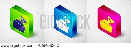 Isometric Nachos In Bowl Icon Isolated On Grey Background. Tortilla Chips Or Nachos Tortillas. Tradi