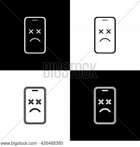 Set Dead Mobile Icon Isolated On Black And White Background. Deceased Digital Device Emoji Symbol. C