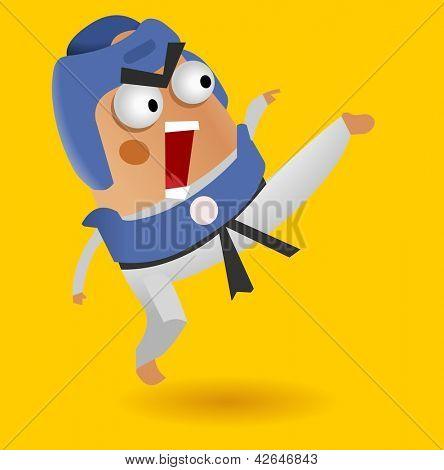 Taekwondo fighter. Vector illustration