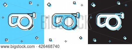 Set Retractable Cord Leash With Carabiner Icon Isolated On Blue And White, Black Background. Pet Dog