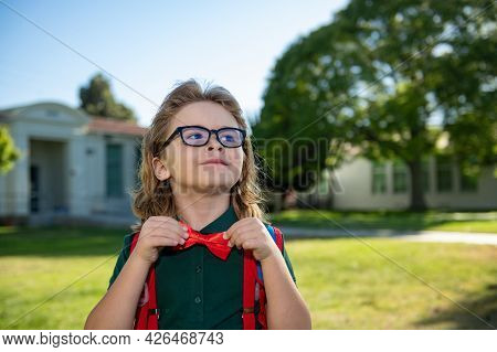 Back To School. Happy Smiling Pupil From Primary School. First Day Of Autumn Fall.