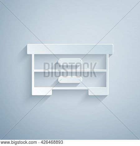 Paper Cut Hive For Bees Icon Isolated On Grey Background. Beehive Symbol. Apiary And Beekeeping. Swe