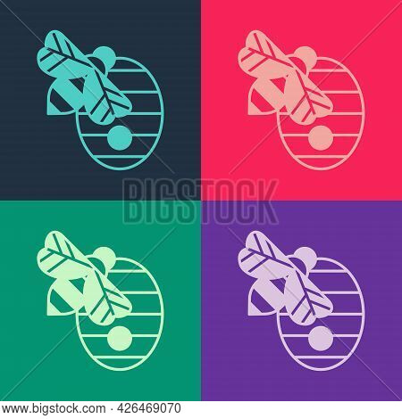 Pop Art Hive For Bees Icon Isolated On Color Background. Beehive Symbol. Apiary And Beekeeping. Swee