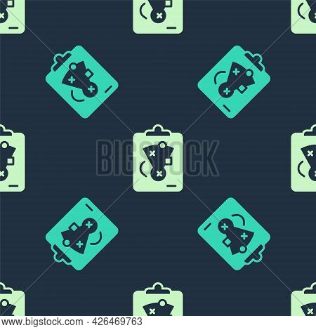 Green And Beige Planning Strategy Concept Icon Isolated Seamless Pattern On Blue Background. Basebal