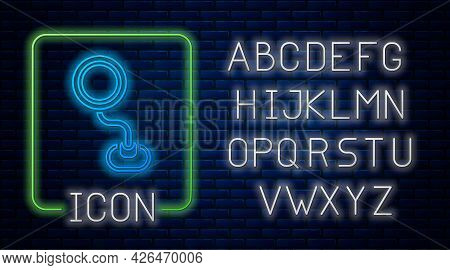 Glowing Neon Road Traffic Sign. Signpost Icon Isolated On Brick Wall Background. Pointer Symbol. Iso
