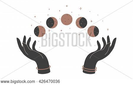 Alchemy Esoteric Mystical Magic Celestial Talisman With Woman Hands And Moon Phases. Spiritual Occul