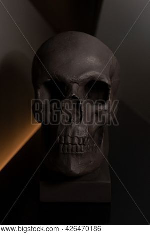 Black Skull. Place For Text. Bust Of The Skull. Copy Space. Halloween Black Decor. Minimalism In The