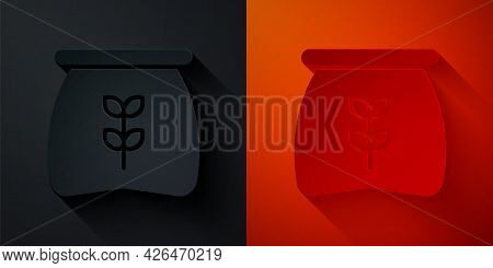 Paper Cut Bag Of Flour Icon Isolated On Black And Red Background. Paper Art Style. Vector