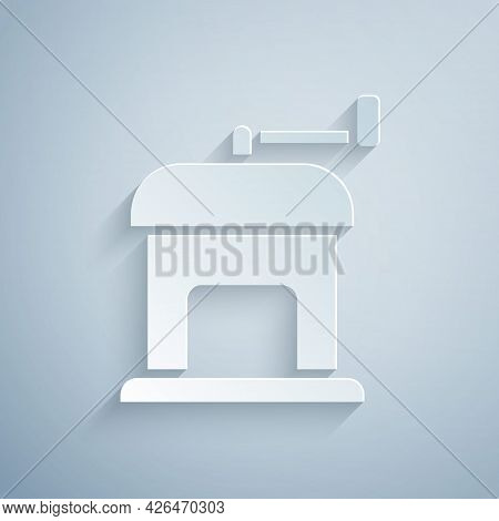 Paper Cut Manual Coffee Grinder Icon Isolated On Grey Background. Paper Art Style. Vector
