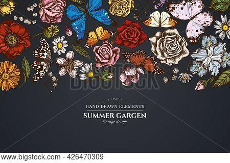 Floral Design On Dark Background With Shepherd S Purse, Heather, Iris Japonica, Sakura, Gypsophila,