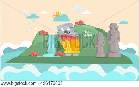 Welcome To Jeju Island In South Korea. Trip In Beautiful Green Park Travel Concept And Adventure Tou