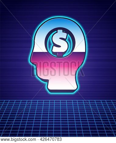 Retro Style Business Man Planning Mind Icon Isolated Futuristic Landscape Background. Human Head Wit
