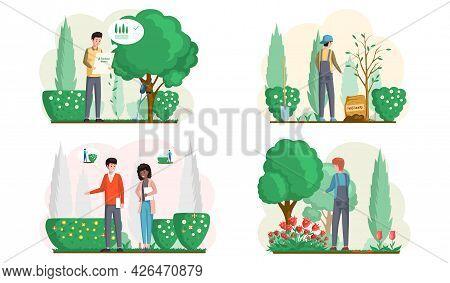 Spring Gardening With Characters Of Gardeners Working In Garden, Landscape Designers Scenes Set With
