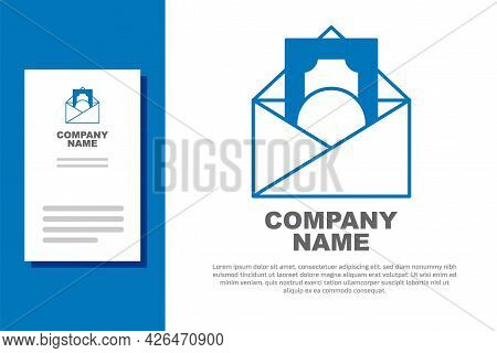 Blue Envelope With Coin Dollar Symbol Icon Isolated On White Background. Salary Increase, Money Payr