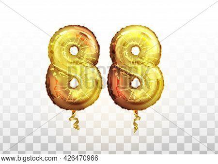 Vector Golden Foil Number 88 Eighty Eight Metallic Balloon. Party Decoration Golden Balloons. Annive