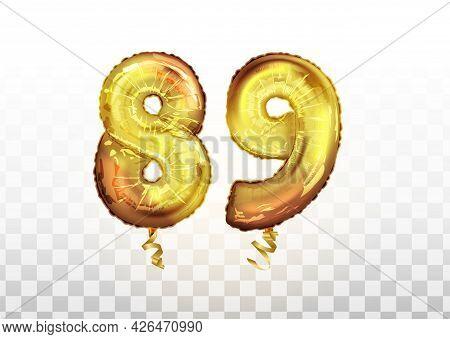 Vector Golden Number 89 Eighty Nine Metallic Balloon. Party Decoration Golden Balloons. Anniversary