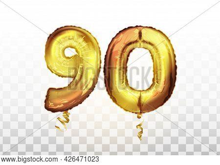 Vector Golden Foil Number 90 Ninety Metallic Balloon. Party Decoration Golden Balloons. Anniversary