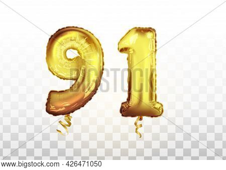Vector Golden Foil Number 91 Ninety One Metallic Balloon. Party Decoration Golden Balloons. Annivers