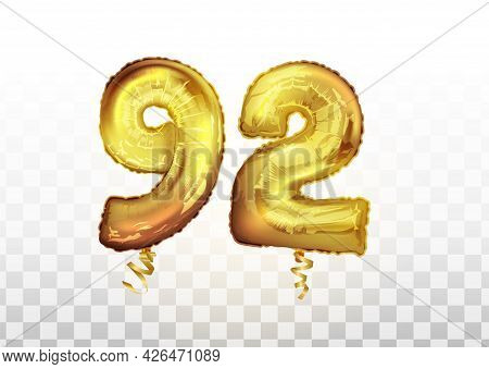 Vector Golden Foil Number 92 Ninety Two Metallic Balloon. Party Decoration Golden Balloons. Annivers
