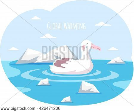 Polar Bird Is Sad About Climate Change And Global Warming. Animals During Global Warming Concept. Po