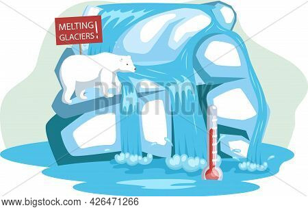 Polar White Bear Sitting On Melting Ice In Sea At North Pole Arctic, Wild Animal Need Help. Global W