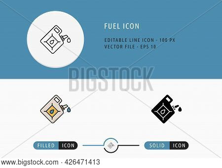 Fuel Icons Set Editable Stroke Vector Illustration. Energy Power Resource Symbol. Icon Line Style On