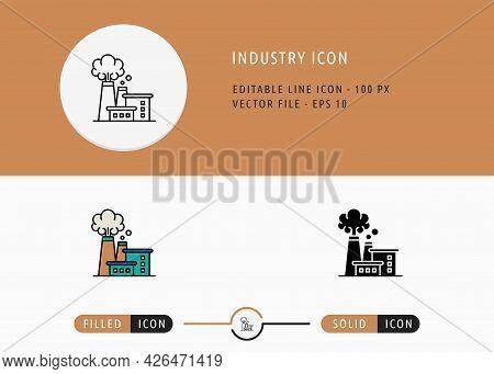 Industry Icons Set Editable Stroke Vector Illustration. Energy Power Resource Symbol. Icon Line Styl